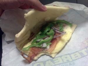 Subway Flatbread Breakfast Sandwich (Inside)