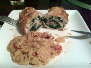 rolled chicken and orzo