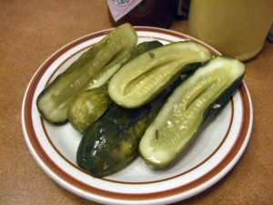 First thing we got were the pickles.  They weren't very good, but you gotta have pickles at a Jewish Delicatessen.