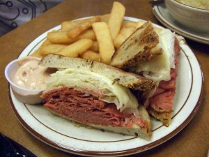 Ruben sandwich with fatty fries.  Good!